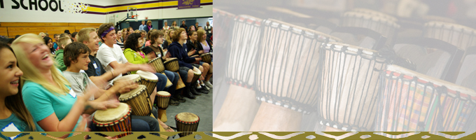 students in an interactive drumming program